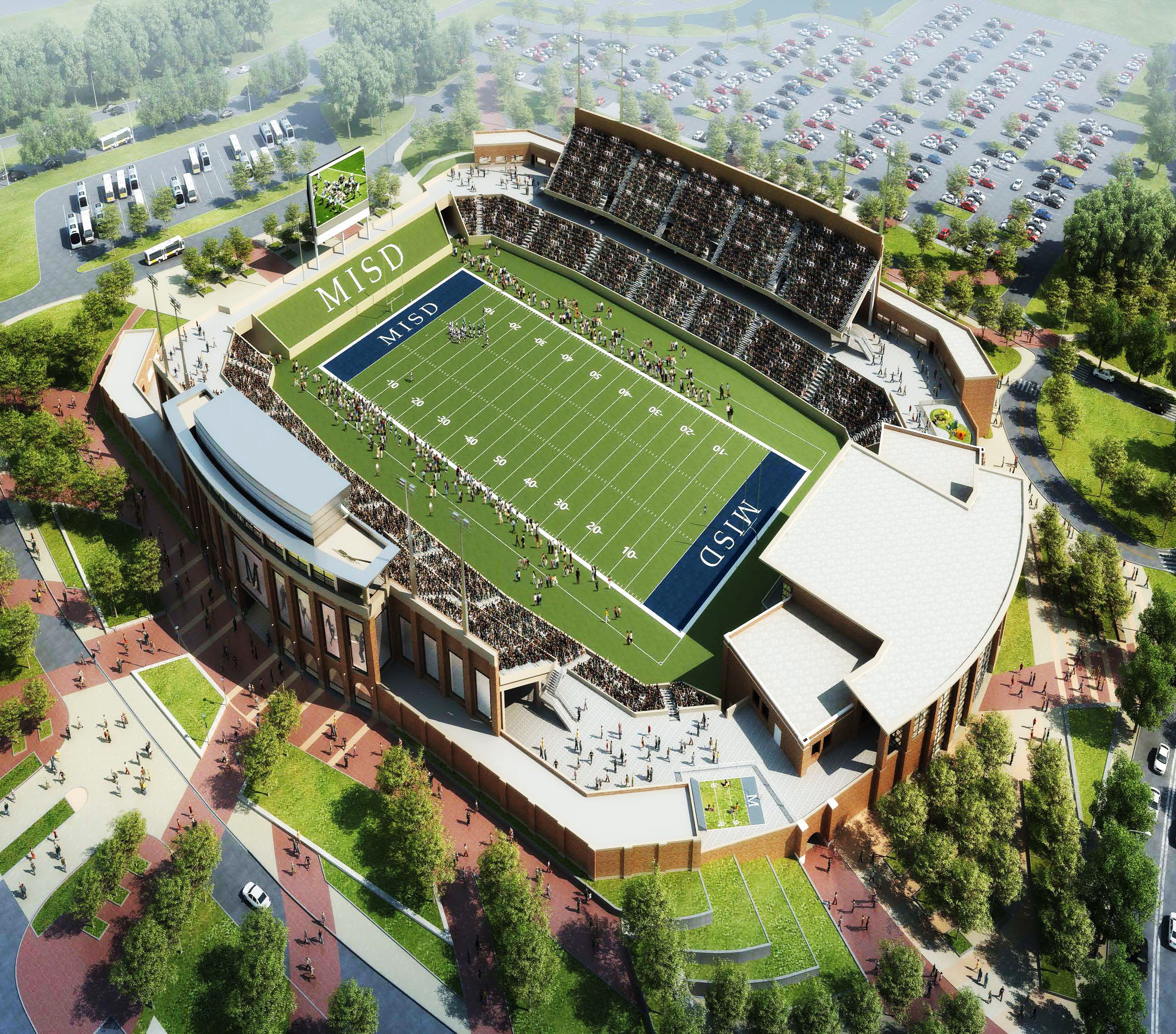 AN ARTIST'S RENDERING depicts what McKinney ISDís new stadium could look like at the southeast corner of Hardin Boulevard and McKinney Ranch Parkway. Saturday night, McKinney voters decided in favor of a $220 million bond, which includes a new football stadium and events center. Construction of the 12,000-seat venue makes up $50.3 million of the bond with another $12.5 million for stadium infrastructure being used from the 2000 bond. Depending if you want to go by the $50.3 million base cost or combined cost of $62.8 million, the stadium would rank among the area's priciest.